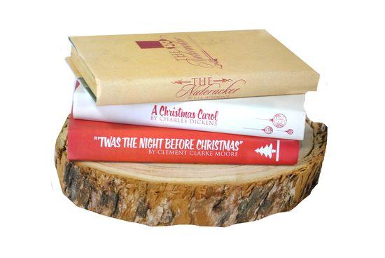 Custom book covers on wood base