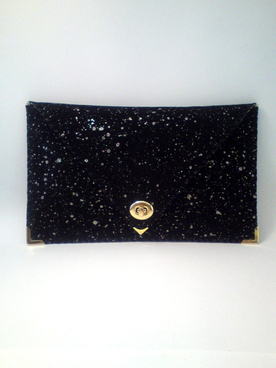 {glittery leather clutch} it's like stars!