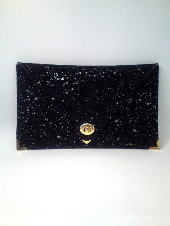 {glittery leather clutch} it's like stars!