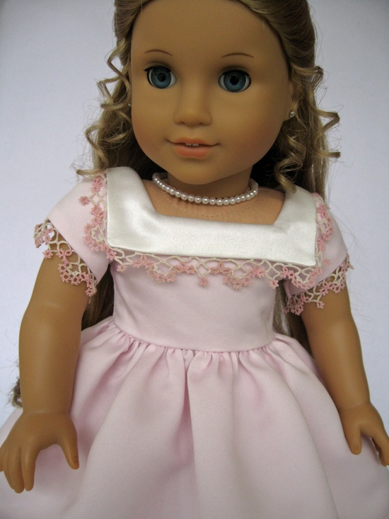 Empress' Secret Closet -  American Girl Doll Clothes Pink Dress with Ivory Bertha and Hand Tatted Lace-One of a Kind made by MyAngieGirl