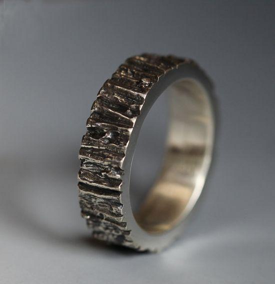 Men's Tree Trunk ring, sterling silver