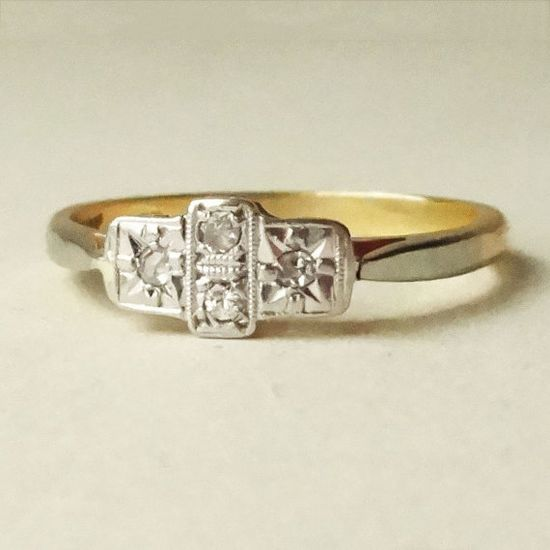Art Deco Geometric Diamond Ring, Platinum and 18k Gold Four Diamond Engagement Ring Approx Size US 7.25 / 7.5