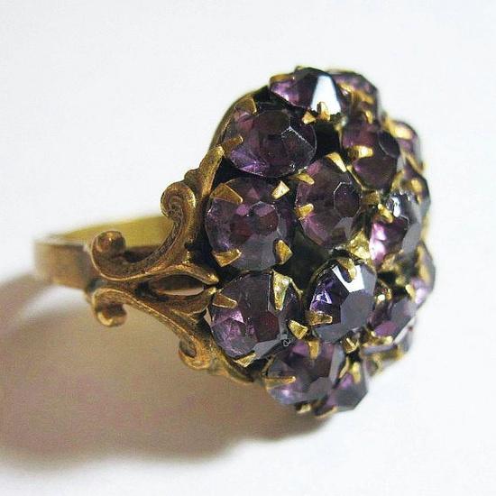 Vintage 1930s Art Deco Ring Purple Rhinestones