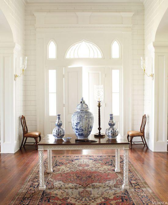 Blue and White porcelain in VERANDA. Interior Design by Furlow Gatewood.