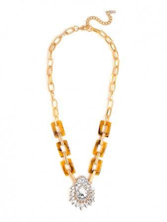 loving this vintage style tortoise crystal tear pendant