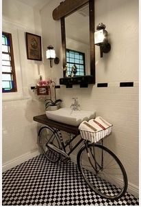 Cool bathroom idea!  Would make great shelf in a bedroom or study, too.