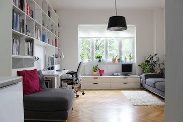 contemporary home office by Martin Hulala, playroom/office idea