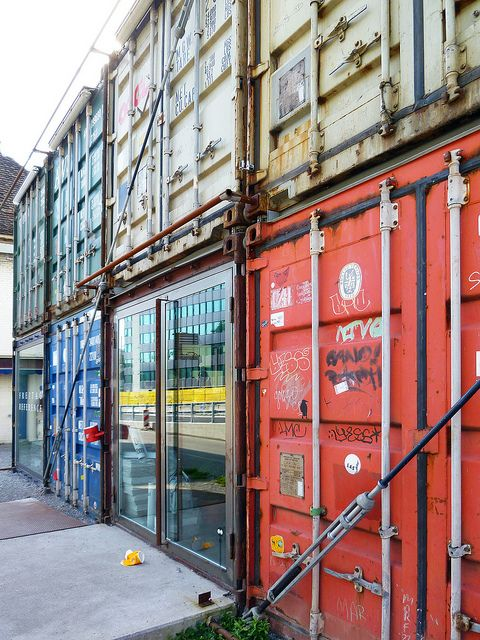 Freitag Flagship Store Zurich constructed from shipping containers, photo by asli aydin, via Flickr