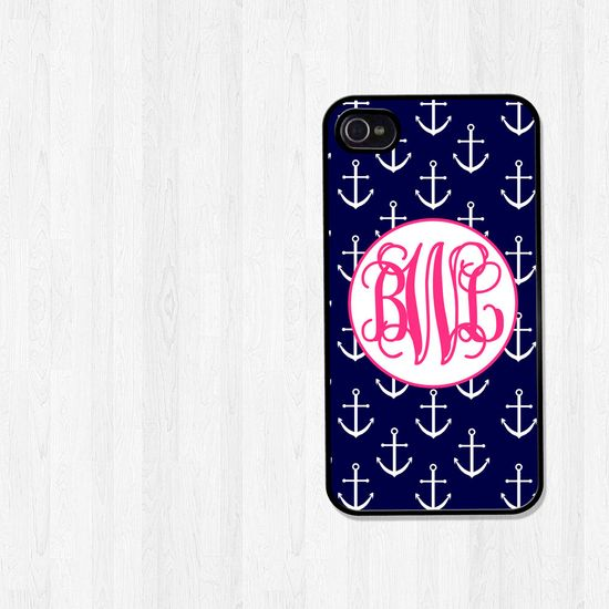 Personalized iPhone 4 Case, iPhone 5 Case, Nautical Anchors in Pink and Navy Monogram, iPhone Case, Phone Case, iPhone Cover (141). $18.00, via Etsy.   For my future iPhone :)