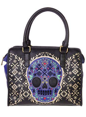 Baroque Blue Skull Handbag