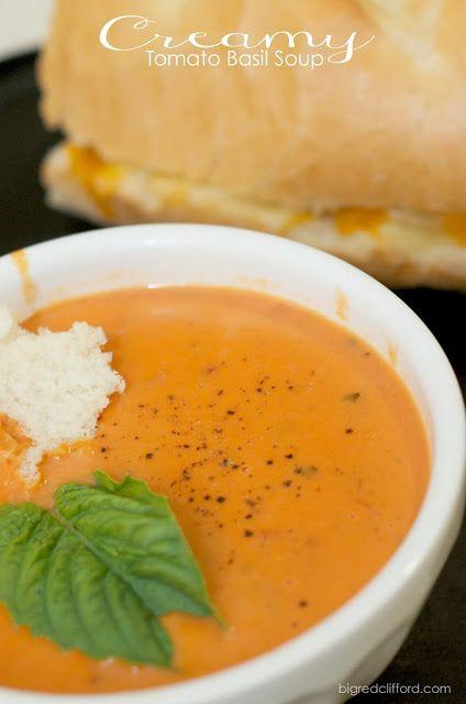 easy creamy tomato basil soup // bigredclifford.com