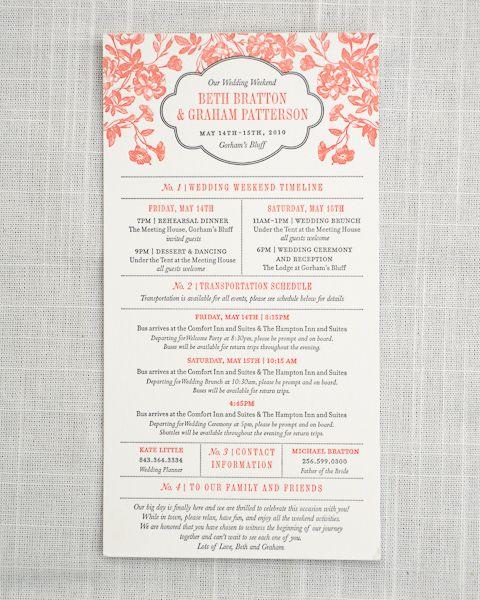 Great wedding weekend info card