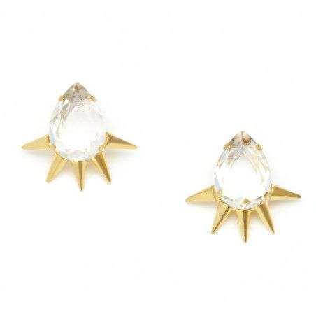 Spike and Crystal Stone Earring