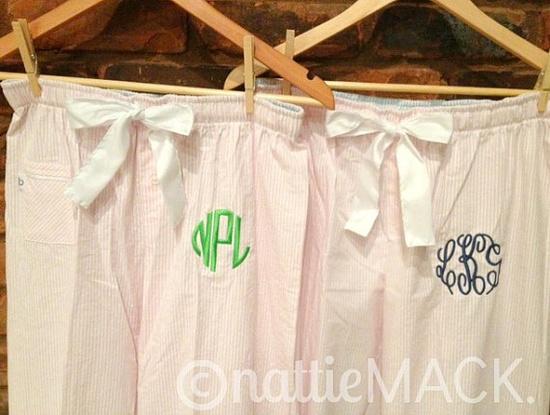 Pink Monogrammed Seersucker Pajama Pants by nattieMACK on Etsy, $24.00