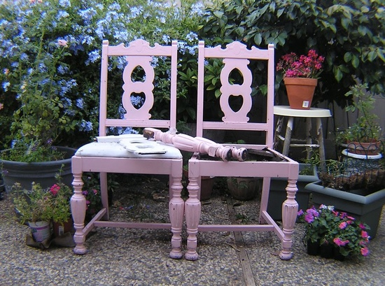 Before and After DIY Decor: Turning Old Chairs and Bits of Wood Into a One-of-a-Kind Garden Bench