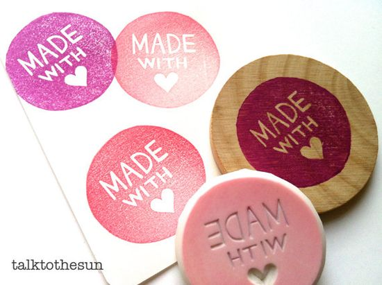 made with love rubber stamp circle rubber stamp. designed and hand carved by talktothesun. available at www.talktothesun....