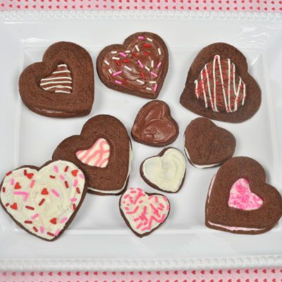 Just-for-You Chocolate Cookie Hearts (Intermediate; 4 dozen cookies) #valentine