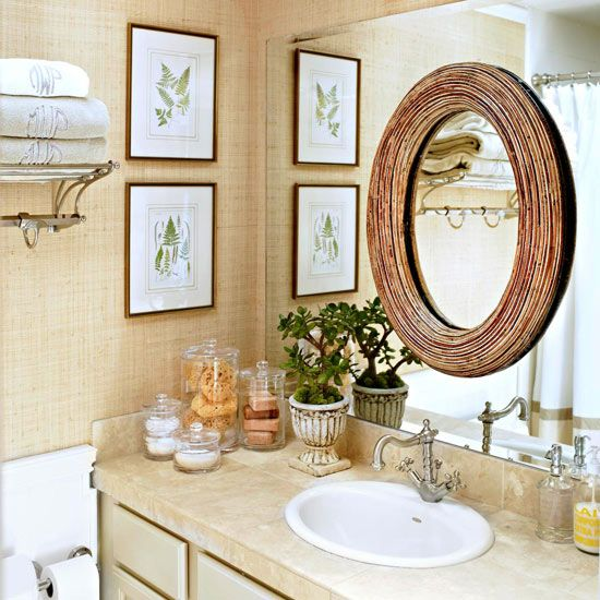 layer your mirrors!! {and add grasscloth and a countertop update!}