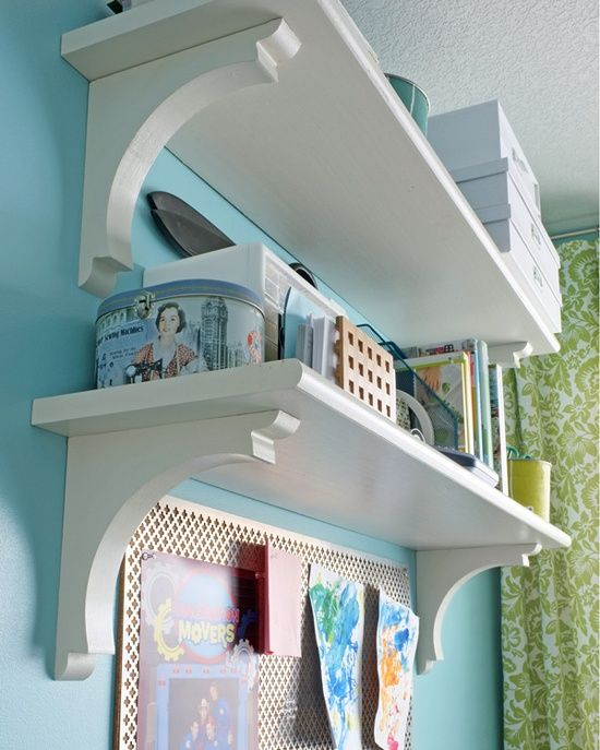 Easy shelves...Use stair treads and corbels, both cheap at Home Depot.