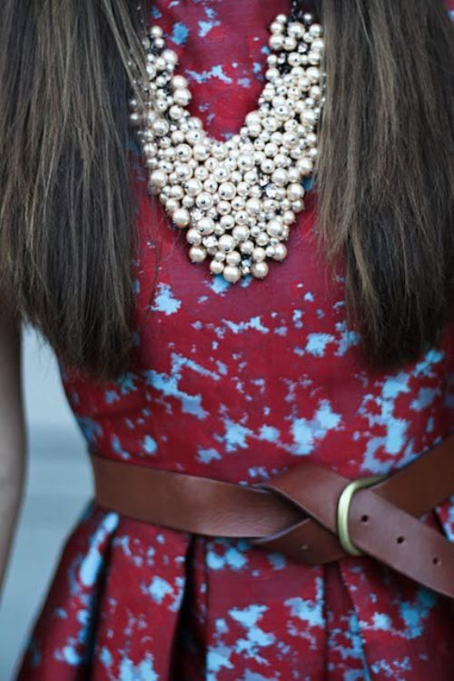 bold necklace and lace