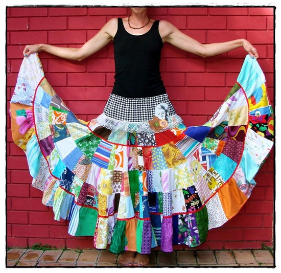 Woman Adrift  Full Patchwork Maxi Skirt