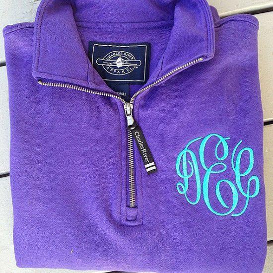 Monogrammed Quarter Zip Sweatshirt by GladevilleFarmhouse on Etsy