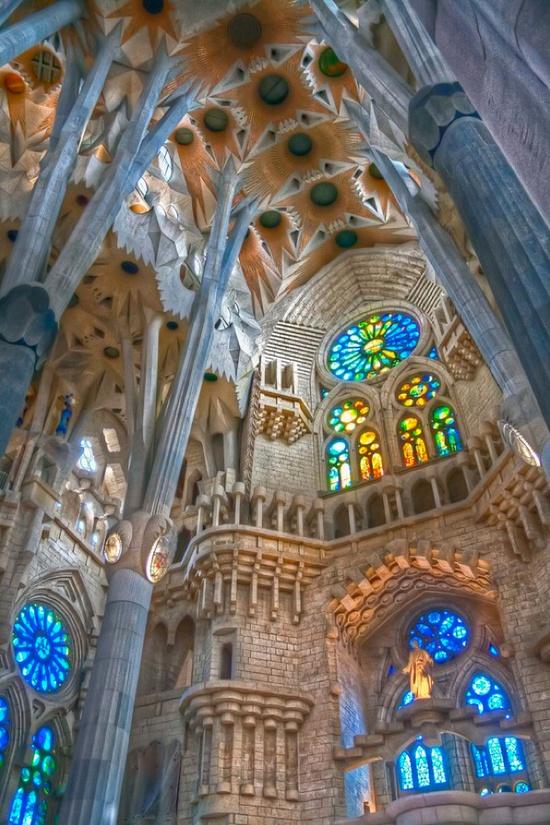 Inside La Sagrada Familia in Barcelona, where nature meets architecture #gaudi #architecture #barcelona