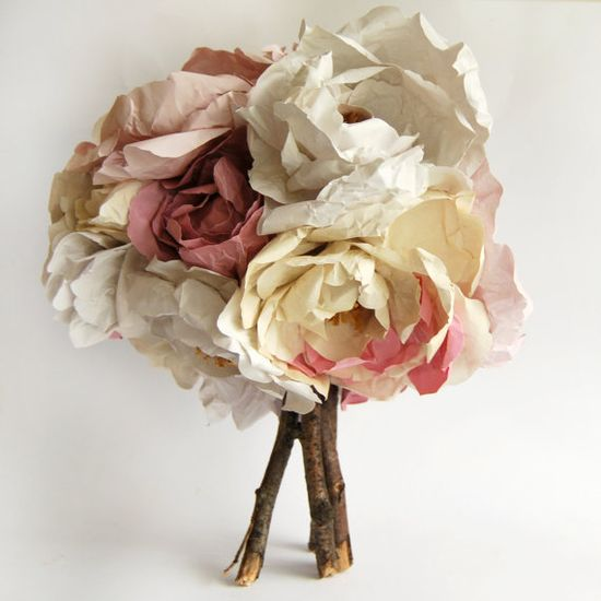Bride's Paper Bouquet in warm cream and pink tones by Frances and Francis.