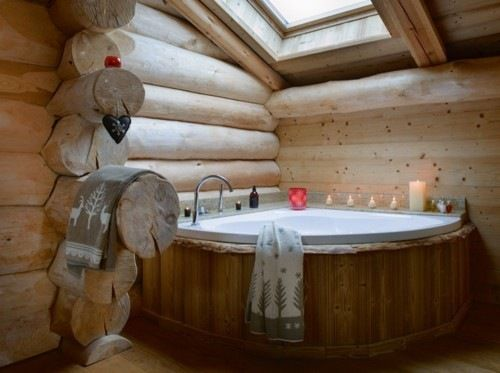 bathroom, woodsy spa bath. what a bathroom could look like in a log home