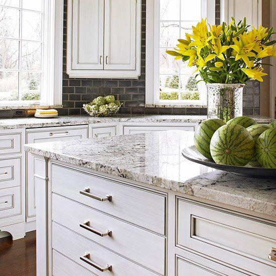 Grey Backsplash, lighter granite countertop