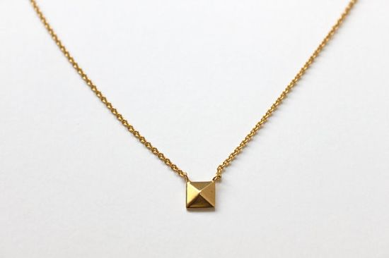 Pyramid Stud Necklace / Tiny Armour Jewelry etsy