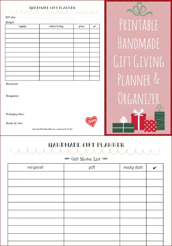 Free Printable: Handmade Gift Planner and Organizer for the holidays