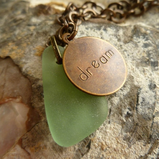 Brass and sea glass anklet