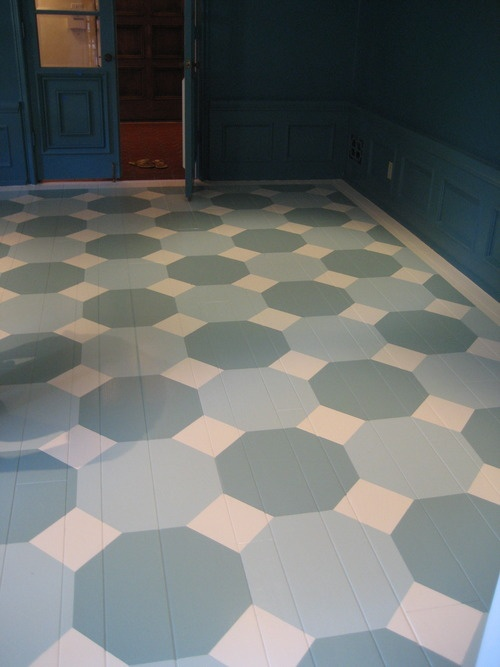 Octagons - painted floor by Molly Loot. #zincdoor #impressivedesign