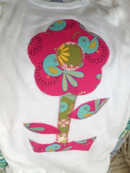 Girl's Handmade Flower Onesie on Etsy, $13.00