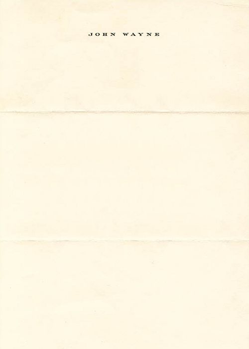 John Wayne letterhead, 1969.