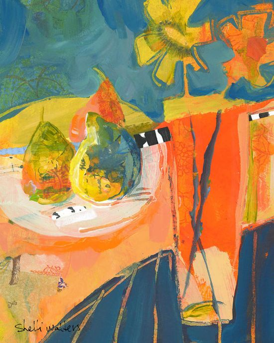 Pears Flower Vase Original Painting