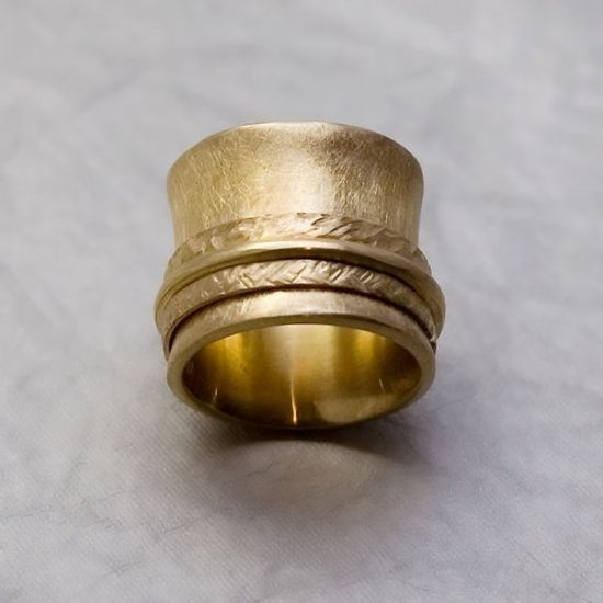 Thick Golden Spinner Ring - OOAK Handmade 14k Yellow Gold Plated Jewelry $159