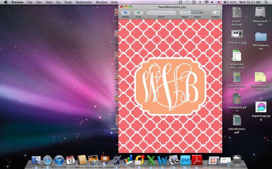 DIY Monogram iPhone Wallpaper