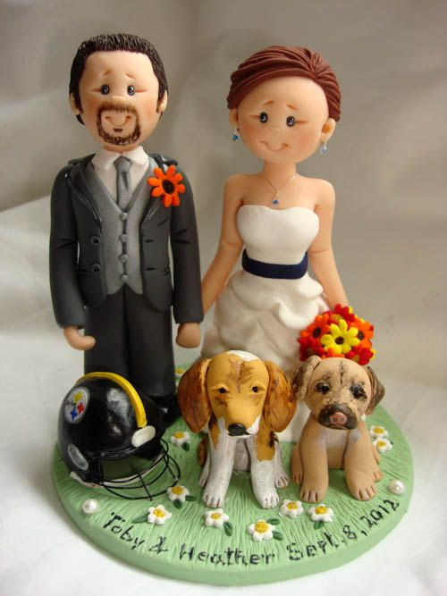 Personalised bride and groom wedding cake topper- $150.00, via Etsy.