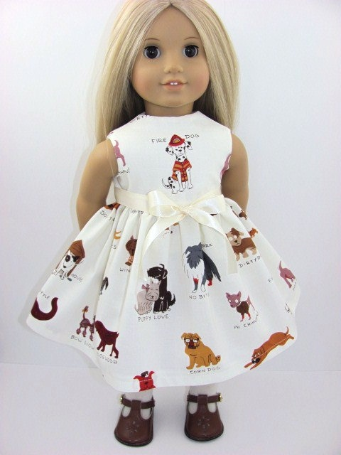 Cream Fire Dog  Doll Dress for the American Girl Doll