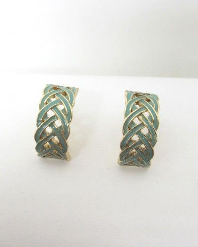 french braid jade colored earrings