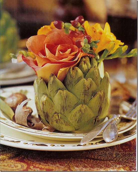 artichoke as vase