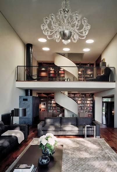 Love the stair case near the bookcase