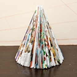 DIY Magazine Christmas Trees. All you need is magazines. Seriously. Easy. Free. Recycled. Kid Friendly. Best DIY ever?