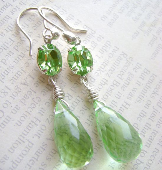 Earrings with Green Peridot Stone from etsy