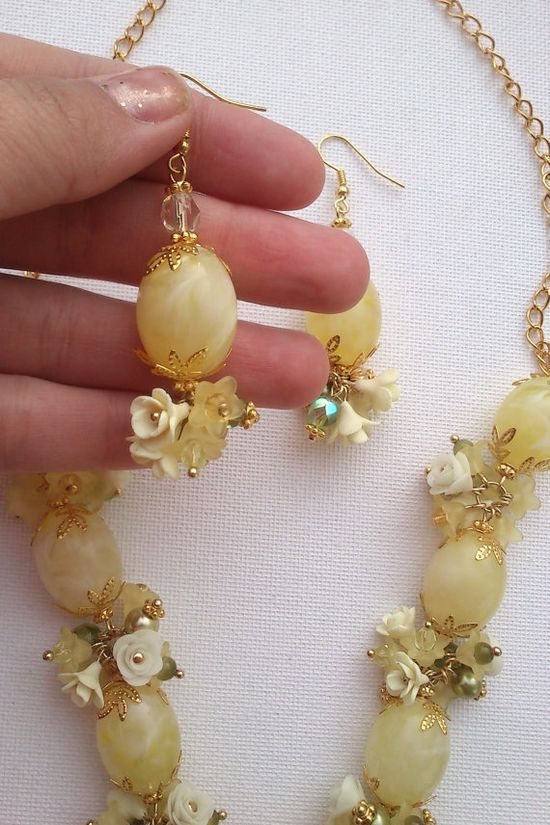 Grape jewelry  Yellow jewelry set  Handmade necklace and by insou, $57.00