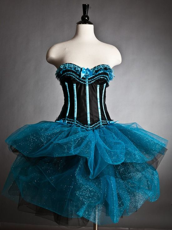 Black and Turquoise Tulle Burlesque corset dress