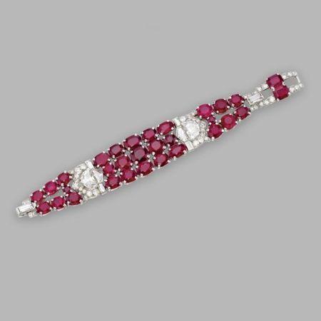 Ruby and diamond bracelet, Cartier, Circa 1925
