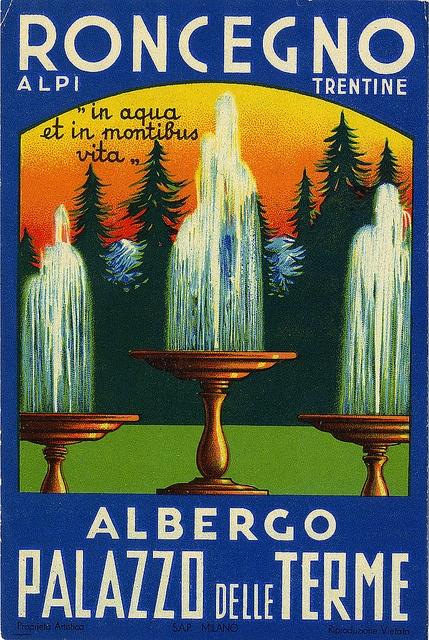 Albergo Palazzo delle Terme, Roncegno, Alpi, Trentine, Italy #vintage #travel #poster #Italia